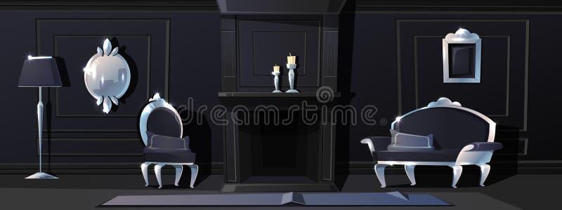 Διανυσματική μαύρη αίθουσα πολυτέλειας με τις ασημένιες σχηματοποιήσεις ελεύθερη απεικόνιση δικαιώματος
