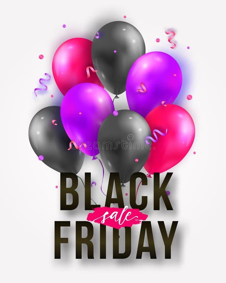 Διανυσματική μαύρη αφίσα πώλησης Παρασκευής με τα λαμπρά μπαλόνια, τις κορδέλλες και το κομφετί Πρότυπο για τη διαφήμιση των αφισ ελεύθερη απεικόνιση δικαιώματος