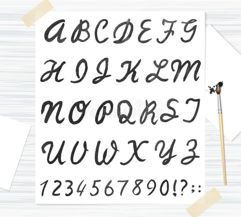Διανυσματική μαύρη πηγή watercolor, χειρόγραφες επιστολές Abc ελεύθερη απεικόνιση δικαιώματος