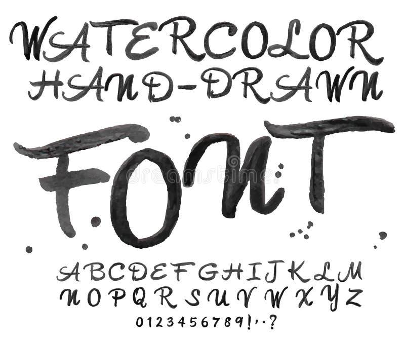 Διανυσματική μαύρη πηγή watercolor Χειρόγραφες επιστολές Watercolour ελεύθερη απεικόνιση δικαιώματος