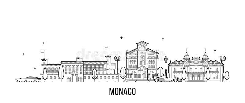 Διανυσματική μεγάλη γραμμή κτηρίων πόλεων οριζόντων του Μονακό ελεύθερη απεικόνιση δικαιώματος