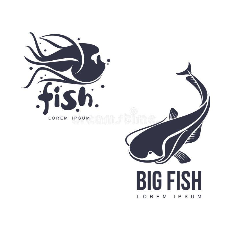Διανυσματική μεγάλη σκιαγραφία εικονογραμμάτων εικονιδίων ψαριών επίπεδη ελεύθερη απεικόνιση δικαιώματος