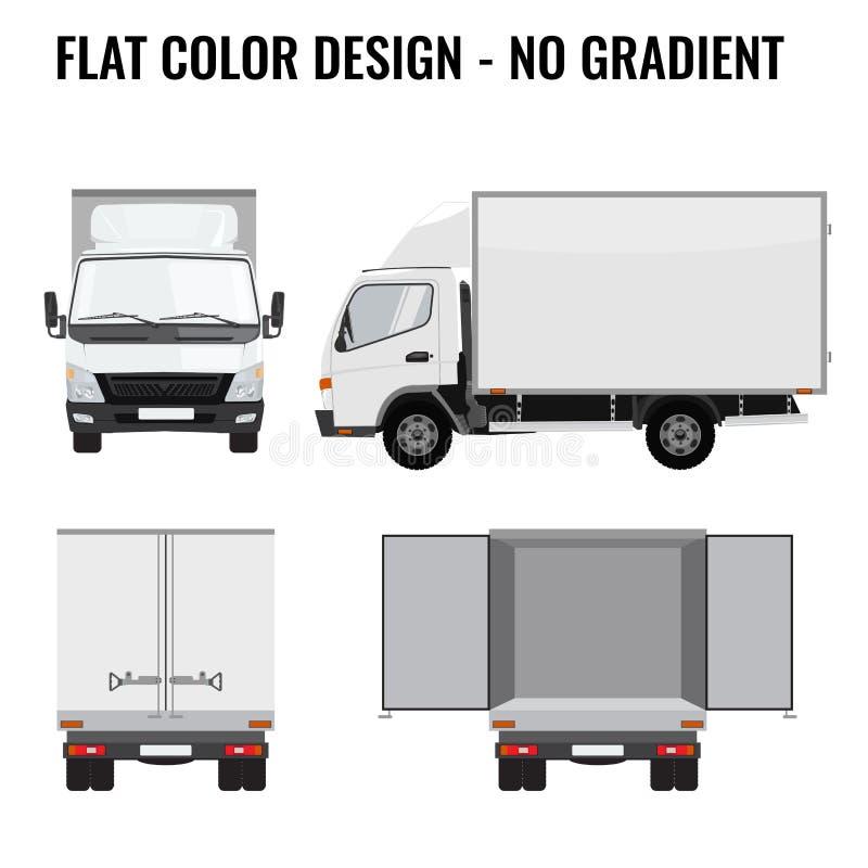 Διανυσματική μικρή μπροστινή πλευρά φορτηγών Παράδοση φορτίου επίπεδο χρώμα διανυσματική απεικόνιση