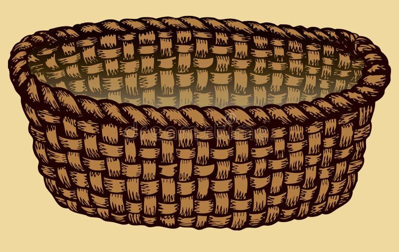 Διανυσματική μονοχρωματική εικόνα κενή λυγαριά καλαθιών ελεύθερη απεικόνιση δικαιώματος