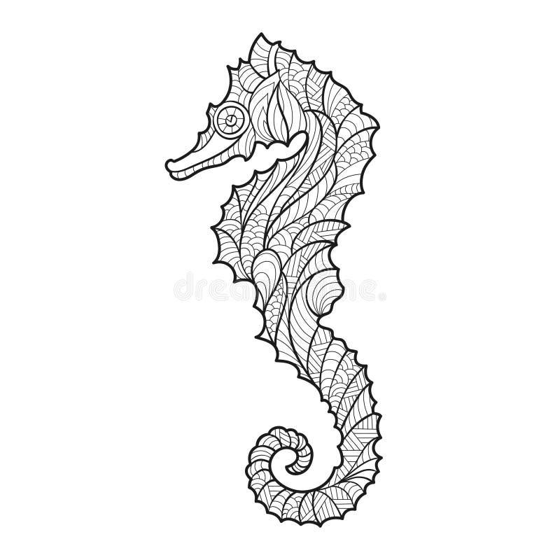 Διανυσματική μονοχρωματική συρμένη χέρι zentagle απεικόνιση του αλόγου θάλασσας διανυσματική απεικόνιση