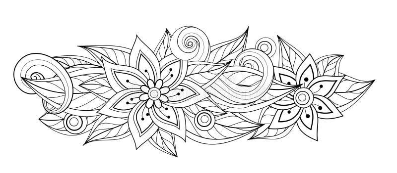 Διανυσματική μονοχρωματική Floral σύνθεση στην ωοειδή μορφή διανυσματική απεικόνιση