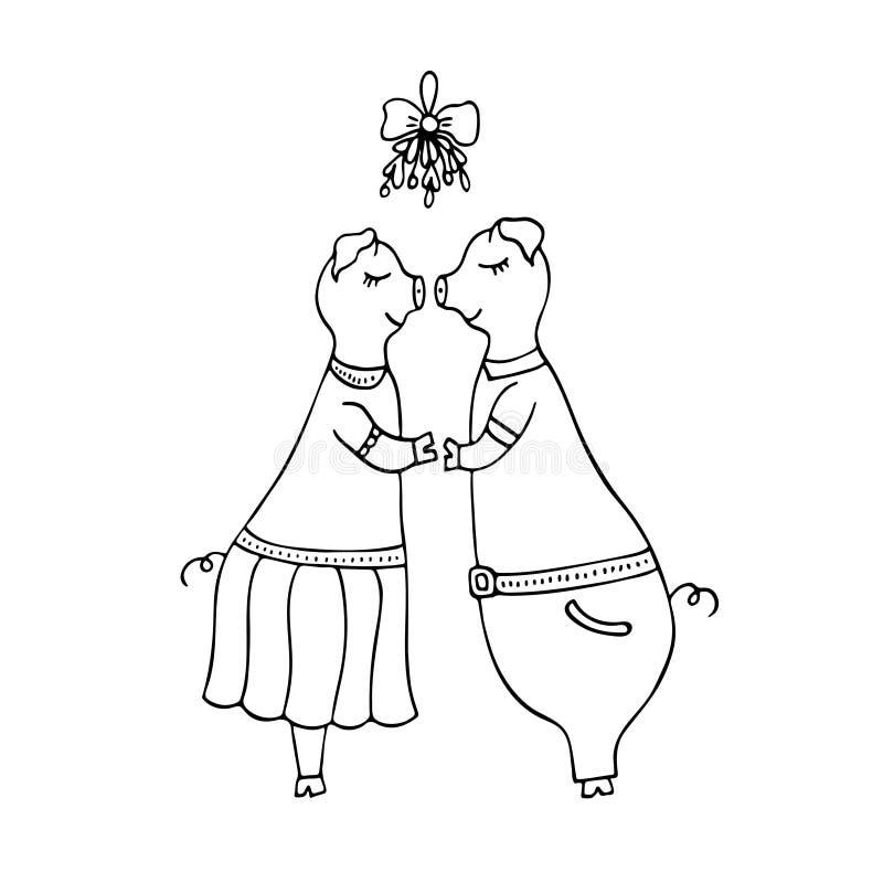 Διανυσματική μονοχρωματική hand-drawn απεικόνιση του φιλήματος δύο χοίρων διανυσματική απεικόνιση