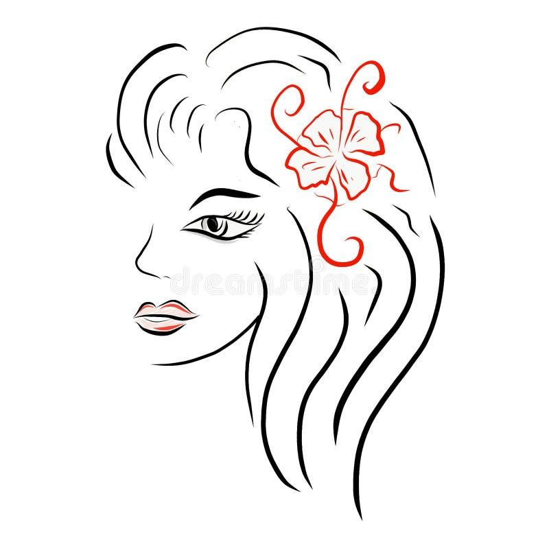 Διανυσματική μοντέρνη σκιαγραφία του κεφαλιού κοριτσιών με την όμορφη τρίχα χ ελεύθερη απεικόνιση δικαιώματος