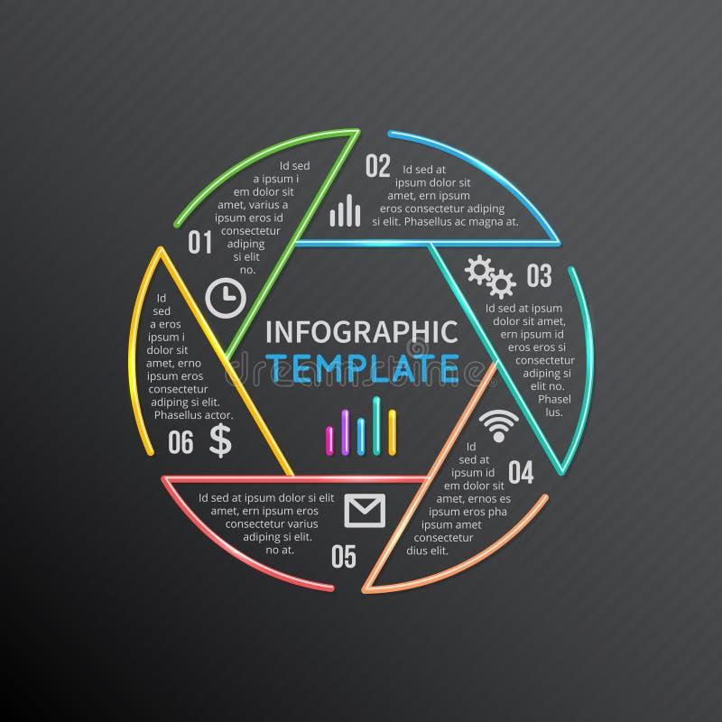 Διανυσματική μορφή γραμμών κύκλων σχεδιαγράμματος προτύπων εκθέσεων Infographics με 6 επιλογές, μέρη, βήματα, διαδικασίες ελεύθερη απεικόνιση δικαιώματος