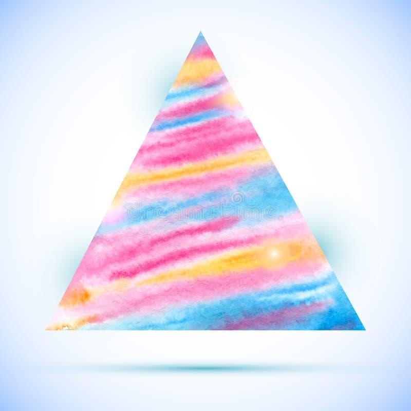 Διανυσματική μορφή τριγώνων watercolor ζωηρόχρωμη με τη σκιά απεικόνιση αποθεμάτων