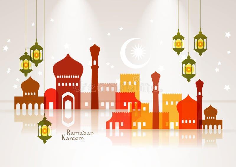 Διανυσματική μουσουλμανική γραφική παράσταση μουσουλμανικών τεμενών και ελαιολυχνιών απεικόνιση αποθεμάτων