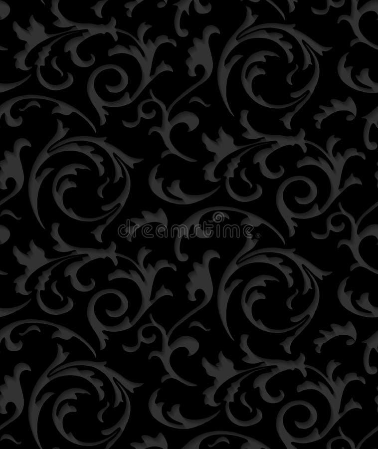 Διανυσματική μπαρόκ damask μαύρη κομψή άνευ ραφής σύσταση δαντελλών διανυσματική απεικόνιση