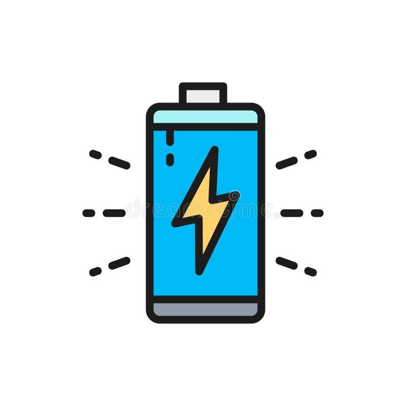 Διανυσματική μπαταρία, συσσωρευτής που φορτίζει το επίπεδο εικονίδιο γραμμών χρώματος διανυσματική απεικόνιση