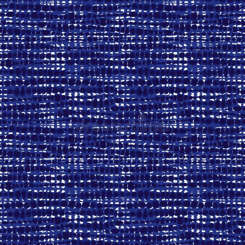 Διανυσματική μπλε άνευ ραφής σύσταση υφάσματος Καμβάς για την κεντητική Αφηρημένο υπόβαθρο Shibori Κατάλληλος για το κλωστοϋφαντο στοκ φωτογραφία με δικαίωμα ελεύθερης χρήσης