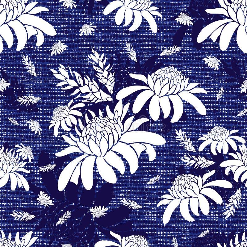 Διανυσματική μπλε άνευ ραφής σύσταση υφάσματος με το τροπικό σχέδιο λουλουδιών πιπεροριζών φανών Καμβάς για την κεντητική Κατάλλη διανυσματική απεικόνιση
