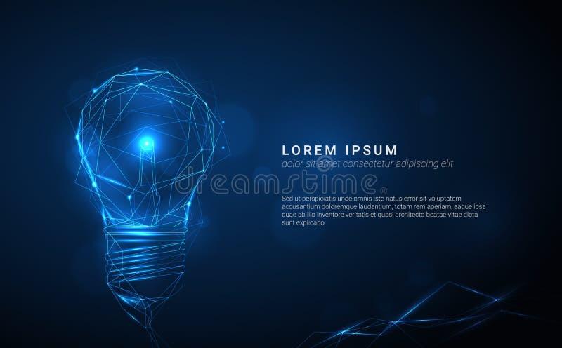 Διανυσματική μπλε καμμένος λάμπα φωτός φιαγμένη από polygonal γραμμές στο σκοτεινό β απεικόνιση αποθεμάτων