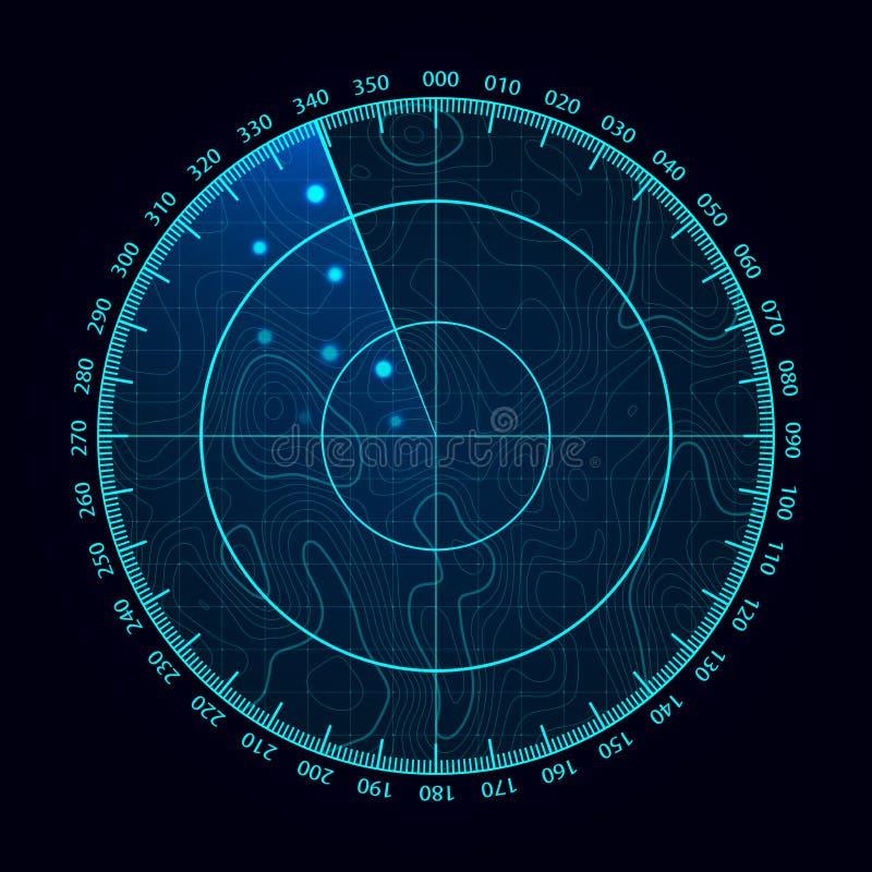 Διανυσματική μπλε οθόνη ραντάρ Στρατιωτικό σύστημα αναζήτησης Φουτουριστική επίδειξη ραντάρ HUD Φουτουριστική διεπαφή Hud διανυσματική απεικόνιση