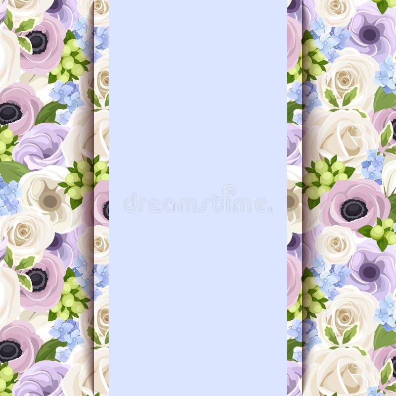 Διανυσματική μπλε κάρτα με τα τριαντάφυλλα, lisianthuses, anemones και λουλούδια hydrangea ελεύθερη απεικόνιση δικαιώματος