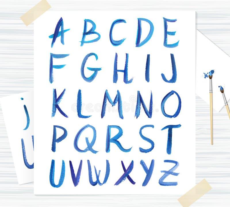 Διανυσματική μπλε πηγή watercolor, χειρόγραφες επιστολές Abc απεικόνιση αποθεμάτων