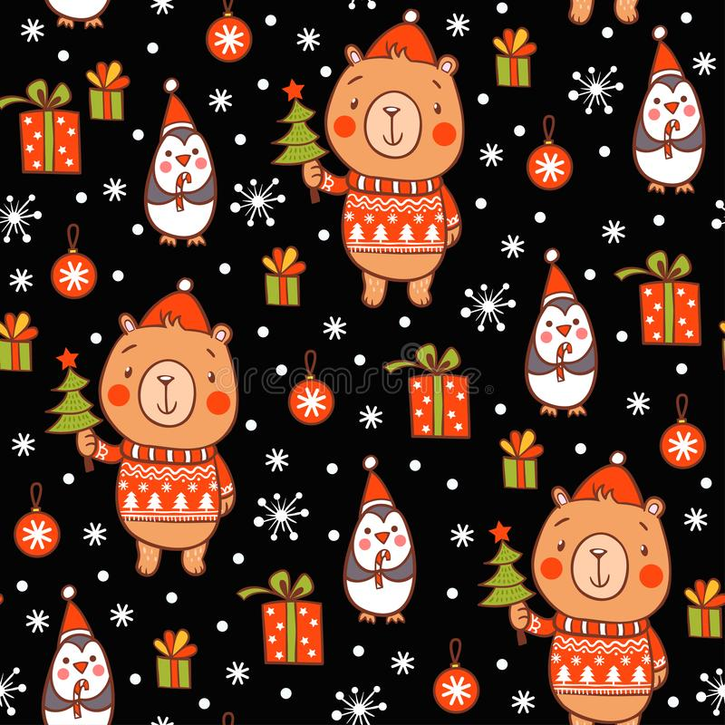 Διανυσματική νέα σύσταση έτους κινούμενων σχεδίων Χαριτωμένο άνευ ραφής σχέδιο Χριστουγέννων διανυσματική απεικόνιση