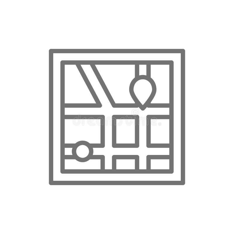 Διανυσματική ναυσιπλοΐα χαρτών πόλεων, εικονίδιο γραμμών ΠΣΤ διανυσματική απεικόνιση