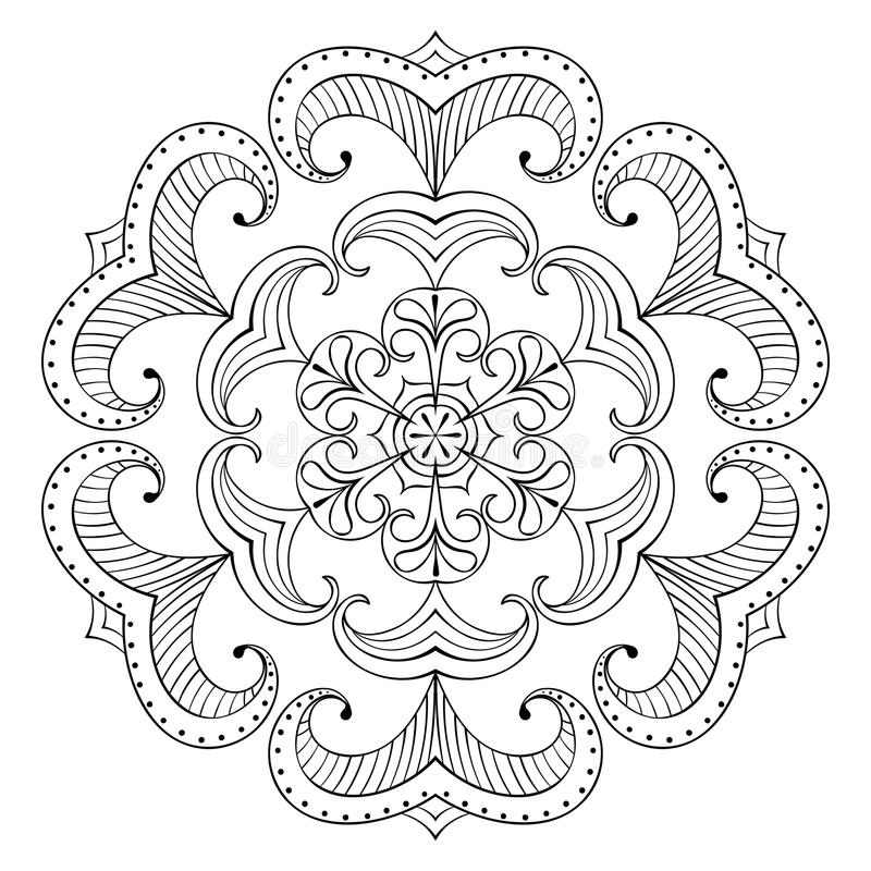Διανυσματική νιφάδα χιονιού στο ύφος zentangle, mandala διακοπής εγγράφου για το α απεικόνιση αποθεμάτων