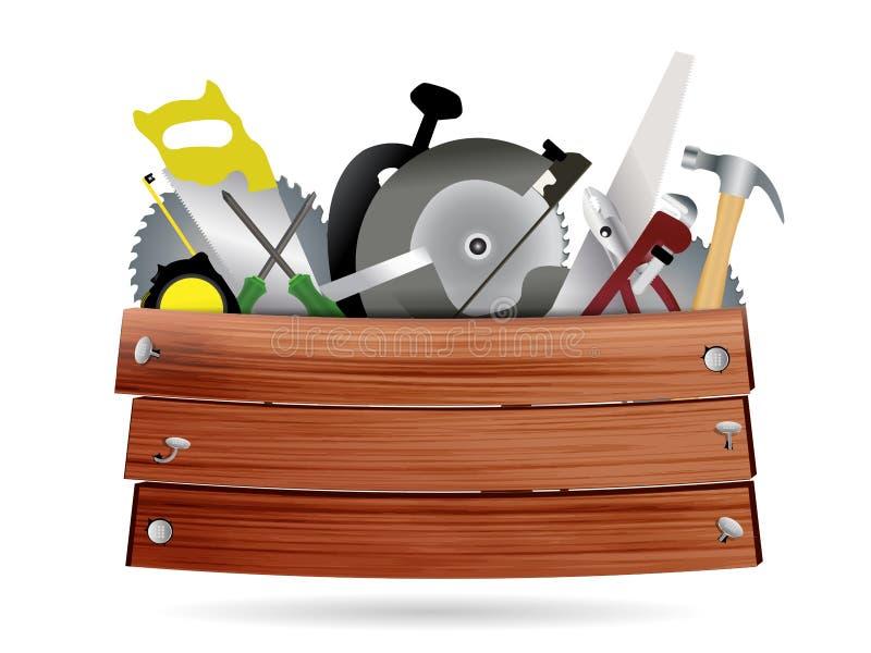 Διανυσματική ξυλουργική, εργαλεία υλικού κατασκευής με απεικόνιση αποθεμάτων