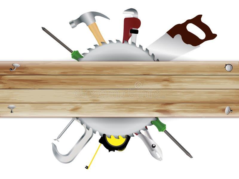 Διανυσματική ξυλουργική, κολάζ εργαλείων με την ξύλινη σανίδα te διανυσματική απεικόνιση