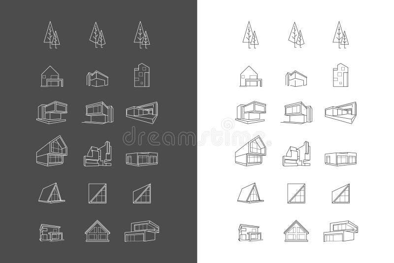 Διανυσματική οδός με τα σύγχρονα σπίτια αρχιτεκτονικής απεικόνιση αποθεμάτων