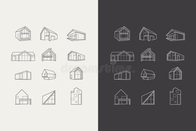 Διανυσματική οδός με τα σύγχρονα σπίτια αρχιτεκτονικής διανυσματική απεικόνιση