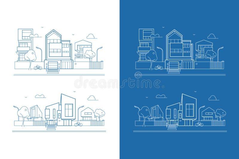 Διανυσματική οδός με τα σύγχρονα σπίτια αρχιτεκτονικής ελεύθερη απεικόνιση δικαιώματος