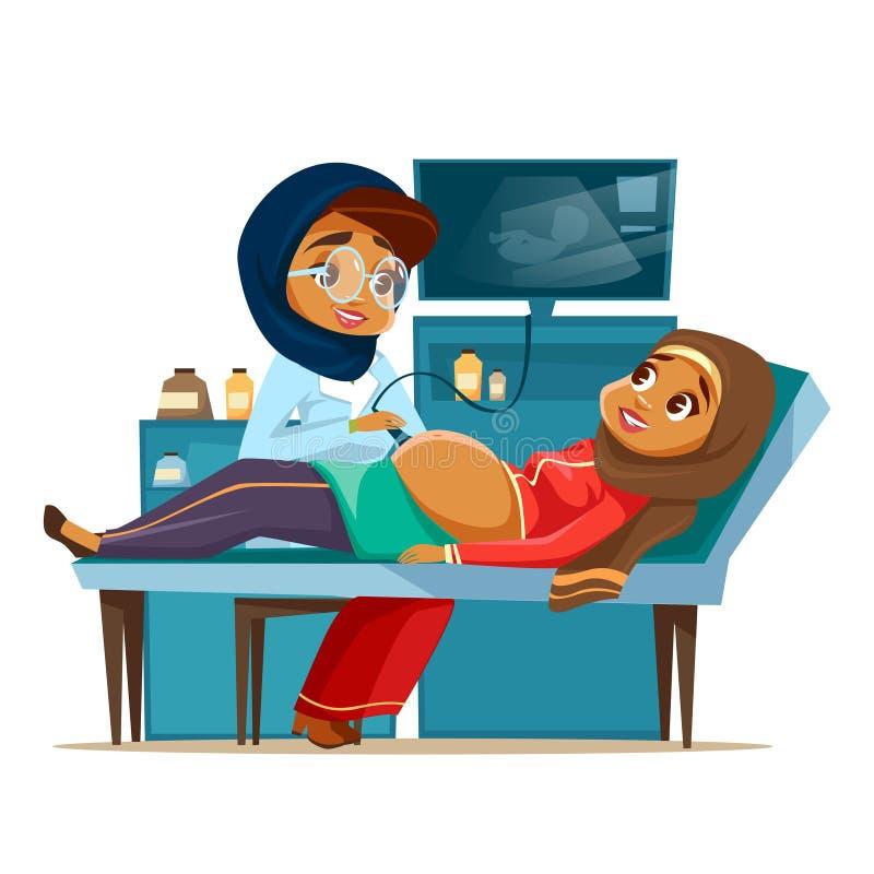 Διανυσματική οθόνη εγκυμοσύνης υπερήχου κινούμενων σχεδίων αραβική ελεύθερη απεικόνιση δικαιώματος