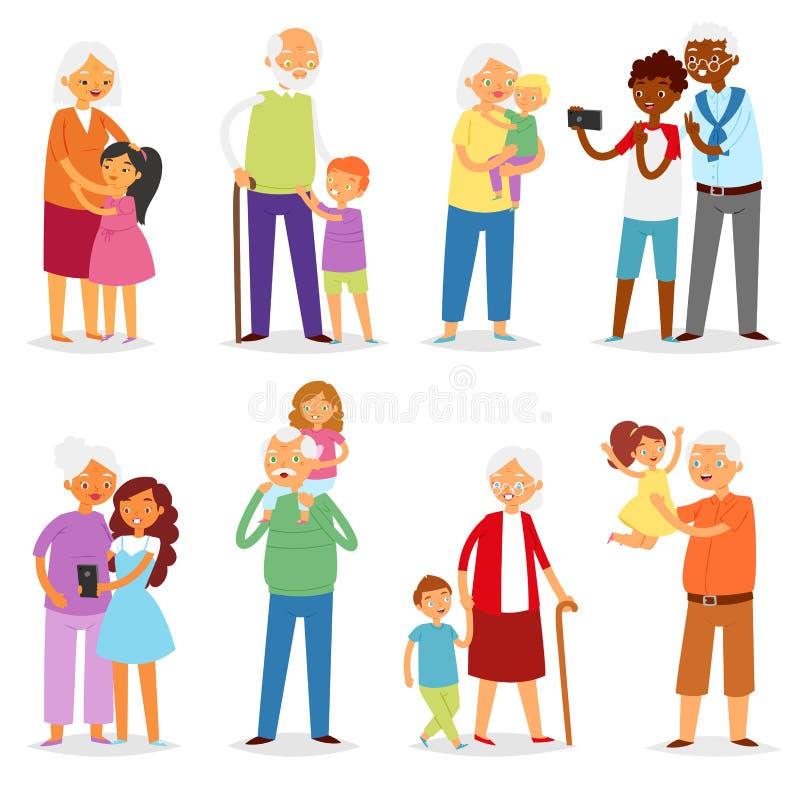 Διανυσματική οικογενειακή μαζί παππούς ή γιαγιά παππούδων και γιαγιάδων με το σύνολο απεικόνισης εγγονιών ηλικιωμένων ανθρώπων ελεύθερη απεικόνιση δικαιώματος
