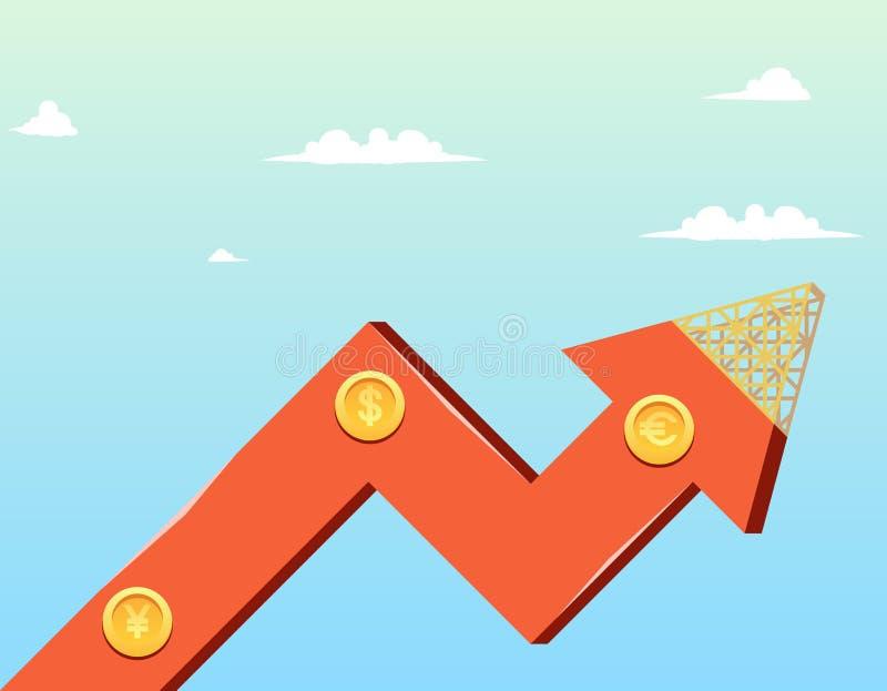 Διανυσματική οικονομία επιχείρησης αύξησης κινούμενων σχεδίων απεικόνισης διανυσματική απεικόνιση