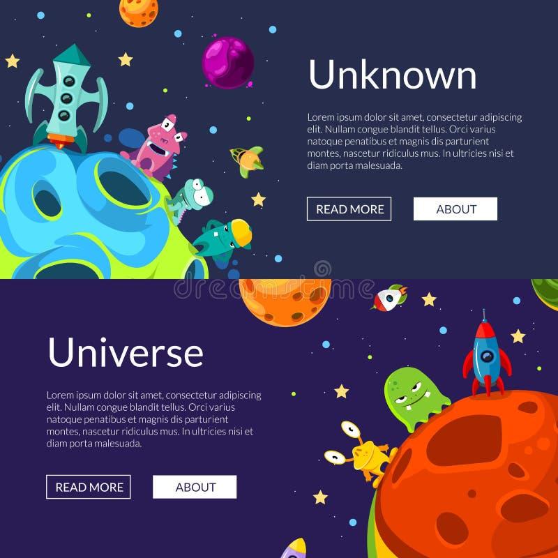 Διανυσματική οριζόντια απεικόνιση εμβλημάτων Ιστού με τους διαστημικούς πλανήτες και τα σκάφη κινούμενων σχεδίων ελεύθερη απεικόνιση δικαιώματος
