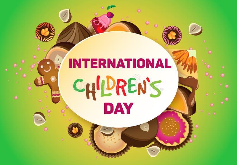 Διανυσματική οριζόντια αφίσα τη διεθνή ημέρα παιδιών ` s ελεύθερη απεικόνιση δικαιώματος