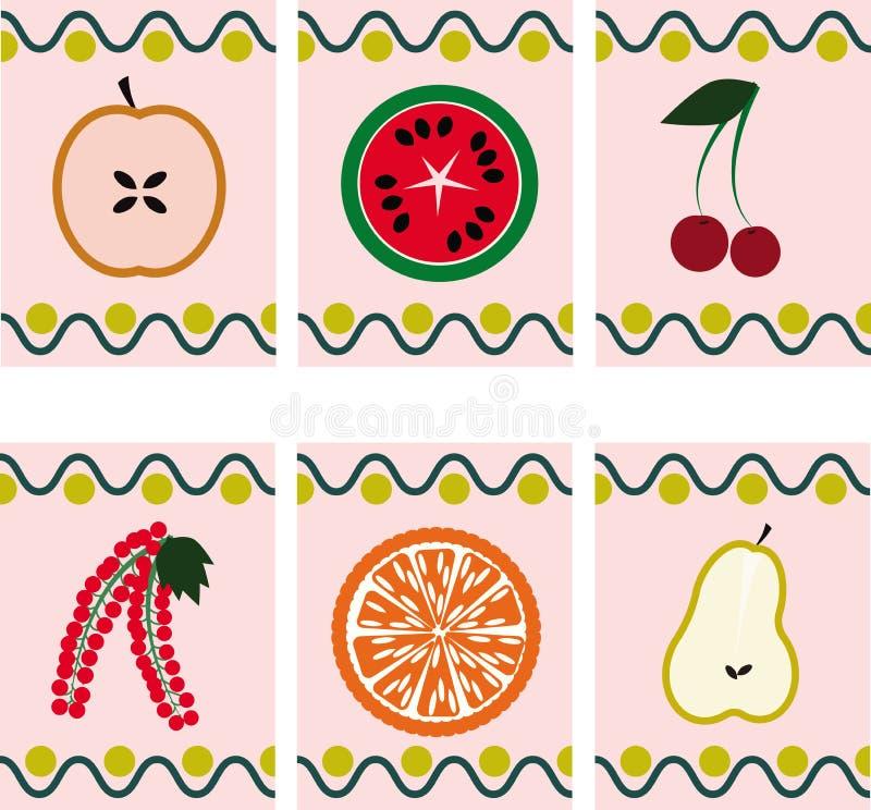 Διανυσματική ορισμένη τρύγος αφίσα φρούτων στοκ φωτογραφίες