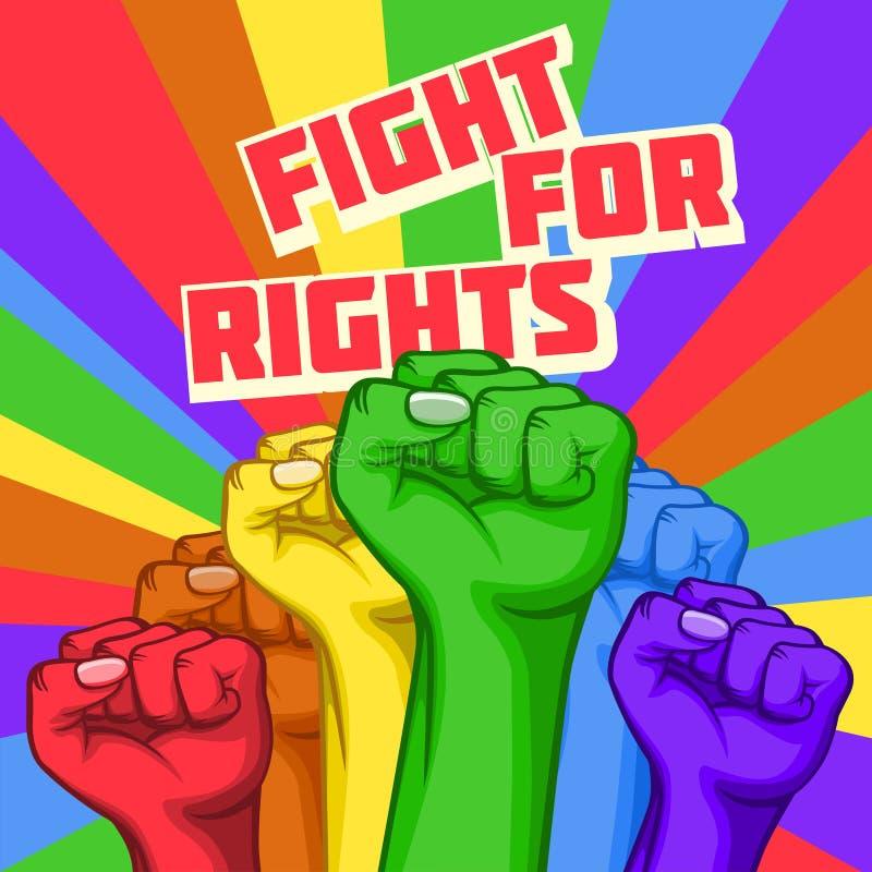 Διανυσματική πάλη για την αφίσα δικαιωμάτων με τα αυξημένα χέρια απεικόνιση αποθεμάτων