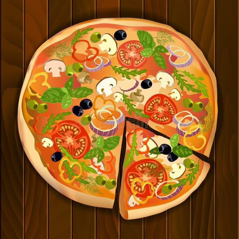 Διανυσματική πίτσα με μια φέτα απεικόνιση αποθεμάτων