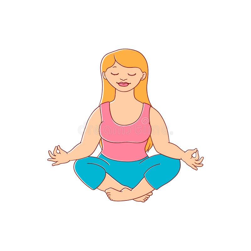 Διανυσματική παχουλή παχύσαρκη γυναίκα meditate διανυσματική απεικόνιση