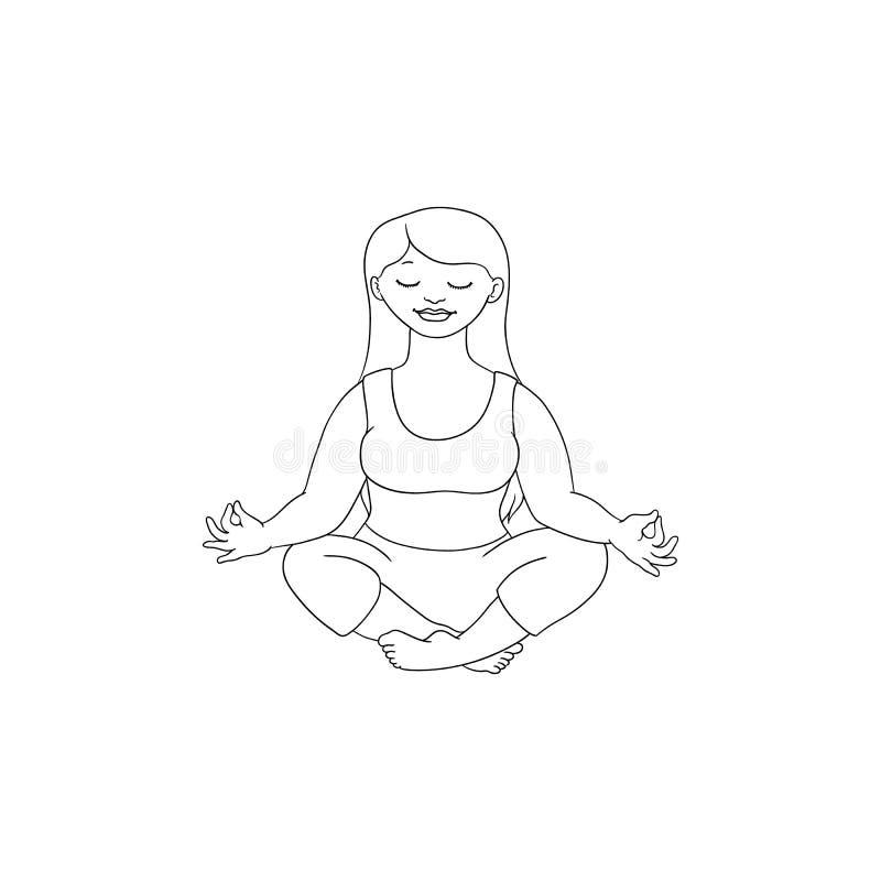 Διανυσματική παχουλή παχύσαρκη γυναίκα meditate ελεύθερη απεικόνιση δικαιώματος