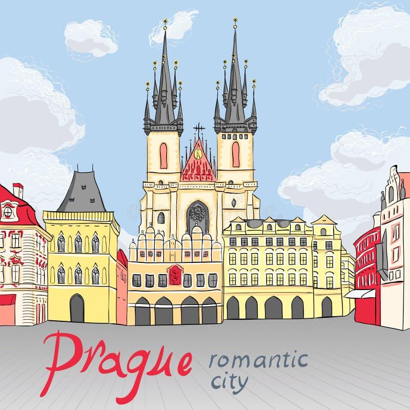 Διανυσματική παλαιά πλατεία της πόλης στην Πράγα, Δημοκρατία της Τσεχίας ελεύθερη απεικόνιση δικαιώματος