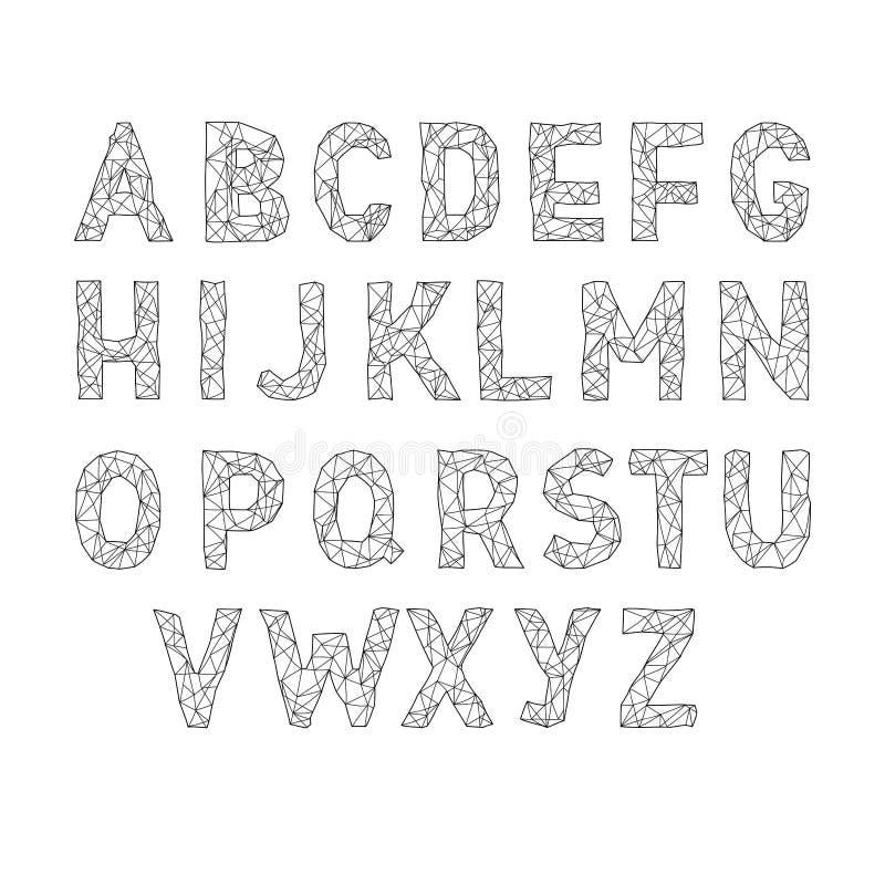 Διανυσματική πηγή αλφάβητου abc Επιστολές Lowpoly τύπων διανυσματική απεικόνιση