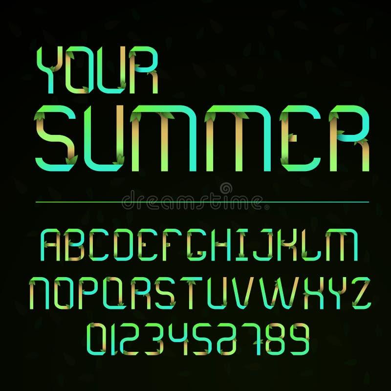 Διανυσματική πηγή και αλφάβητο με τους αριθμούς Επιστολές με τα φύλλα Επιστολές Eco Εγγραφή για το καλοκαίρι Αλφάβητο στο ύφος τη απεικόνιση αποθεμάτων