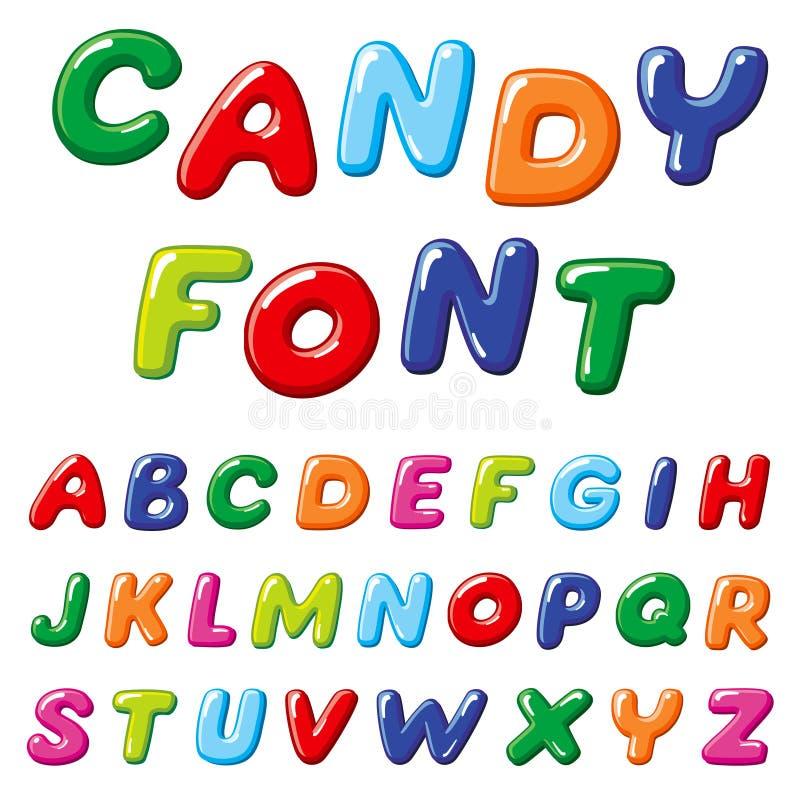 Διανυσματική πηγή παιδιών καραμελών κινούμενων σχεδίων Αστείο αλφάβητο ουράνιων τόξων ελεύθερη απεικόνιση δικαιώματος