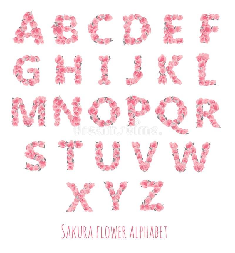 Διανυσματική πηγή που γίνεται με τα λουλούδια και τα φύλλα sakura ελεύθερη απεικόνιση δικαιώματος
