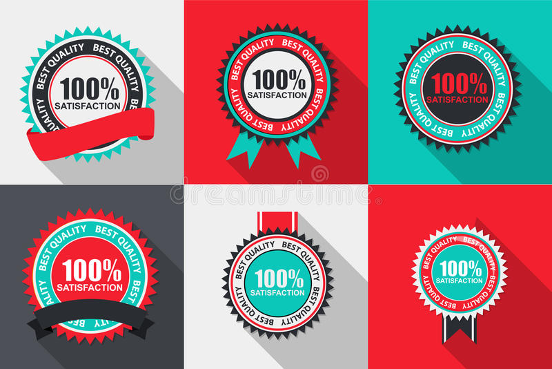 Διανυσματική ποιοτική ετικέτα ικανοποίησης 100% που τίθεται στο επίπεδο σύγχρονο σχέδιο διανυσματική απεικόνιση