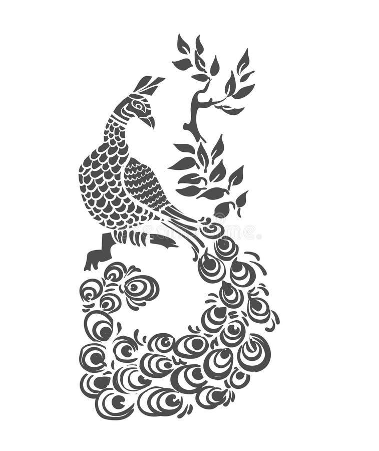 Διανυσματική πουλιών peacock τέχνη συνδετήρων σχεδίων peacock απομονωμένη διανυσματική απεικόνιση