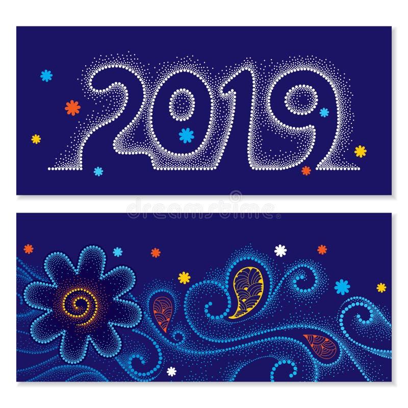 Διανυσματική πρόσκληση με το διαστιγμένο αριθμό 2019, τις σγουρούς γραμμές και τους στροβίλους, πορτοκαλί και άσπρο snowflake στο ελεύθερη απεικόνιση δικαιώματος