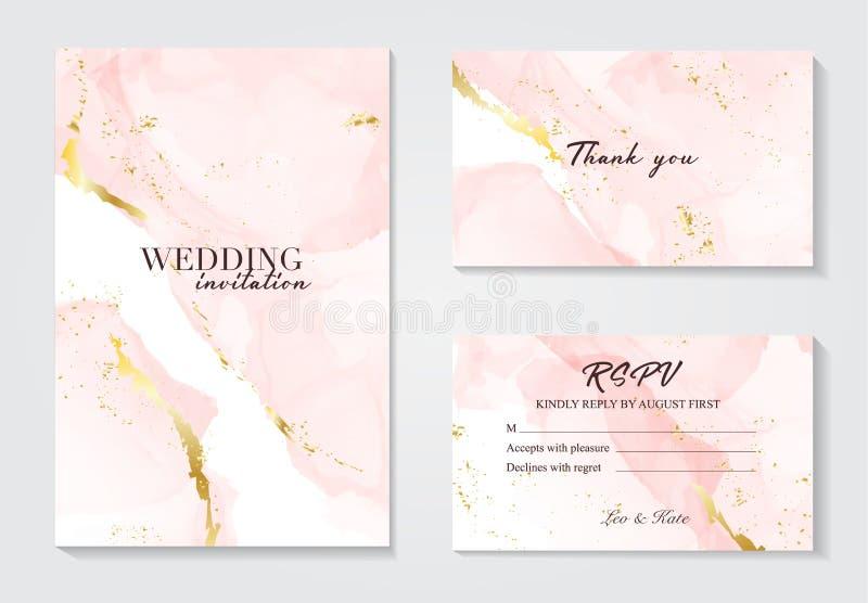 Διανυσματική πρόσκληση που τίθεται γαμήλια με το υπόβαθρο fluis liguid Αυξήθηκε χρυσό σχέδιο πολυτέλειας διακοσμήσεων φύλλων αλου ελεύθερη απεικόνιση δικαιώματος